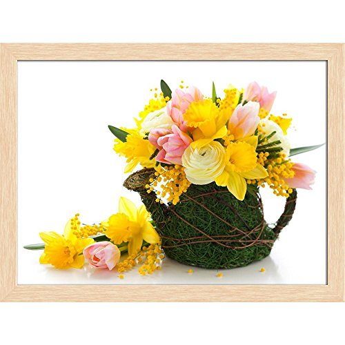 ArtzFolio Bouquet of Spring Flowers Canvas Painting Natural Brown Wood Frame 21.3 X 16Inch Bouquet Natural Wood