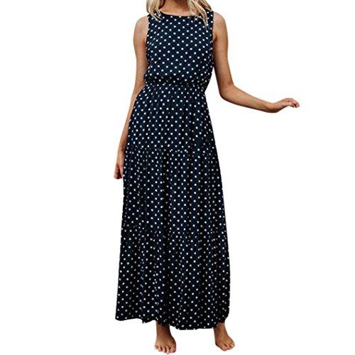 Guesspower Robe Longue Femme Ete Chic Dames Dot Impression Col Rond sans Manches Soirée Longue Cheville-Longueur Robe S-XL(36-42)