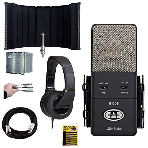 CAD Equitek E100S Kondensatormikrofon (Supernieren-Kondensatormikrofon, mit CAD-Akustikgehäuse, 22 Ständergehäuse, CAD MH510 Kopfhörer + Mikrofonkabel, 6 m XLR + Zubehör)