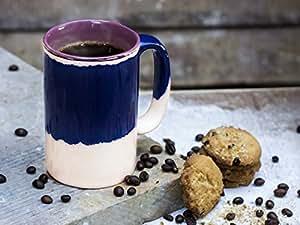 Store Indya Ceramic Tea Coffee Cup Mug Handcrafted Studio Pottery Kitchen Dining Serveware Accessories 4.5 inch 300 ml (Purple)