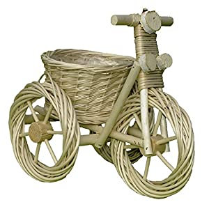 Deko-Dreirad, Pflanzschale, Dreirad aus Weide geflochten – weiß – 40 x 24 cm