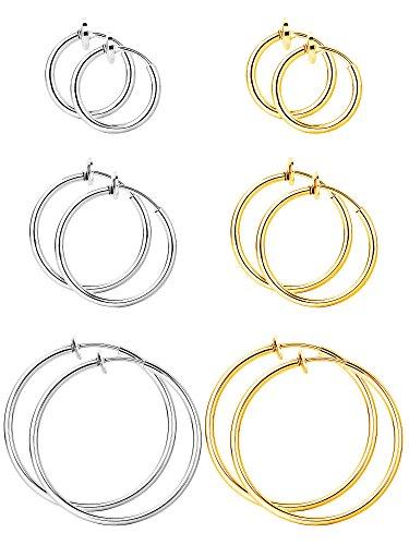 6 Paar Fälschung Ohrringe Hoop Nicht Durchbohrte Nasenring Frühling Creolen Lippe Ohrclip Körperschmuck, Multi-Größe, Stahl und Gold Farbe