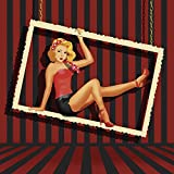 Artland Qualitätsbilder I Wandbilder Selbstklebende Wandfolie 100 x 100 cm Menschen Frau Illustration Rot C6OR Schönheit aus Den 50er Jahren