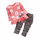 FEIXIANG 2PCs Camicetta + Pantaloni Bambini Ragazze Manica Lunga Fiore Bow Shirt Plaid Pantalone Set Abbigliamento, Nylon del Poliestere (2-3 Anni, Rosa)