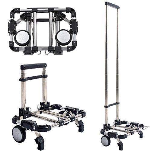 2-in-1-Shopper Klappbarer Trolley mit Rollen, Markt Shopping Sackkarre, Tragbar, Zusammenklappbar, 2Rollen–Belastbarkeit 30kg-Wagen de Course (Markt Wagen)