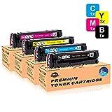 STAROVER 4x 203A/ CF540A CF541A CF542A CF543A Cartuchos De Tóner De Color Compatible Para HP Color LaserJet Pro M254DW M254NW MFP M280NW MFP M281FDW MFP M281FDN Impresora (1 Negro + 1 Cian + 1 Magenta + 1 Amarillo)