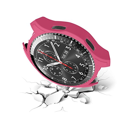 Jaysis New High Quality Silicon Slim Smart Watch Case Cover For Samsung Gear S3 Frontier (Rot2) - 12 Hr-kasten