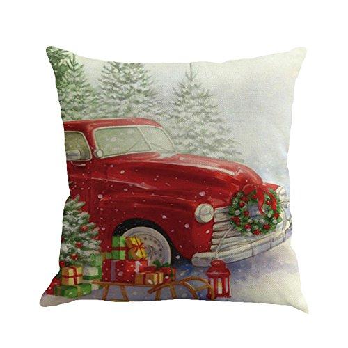 HEVÜY Kissenbezug Merry Christmas Decoration bettwäsche Hirsch Sofa Cover bettwäsche Weihnachten deko Kissen 45 x 45cm Leinen