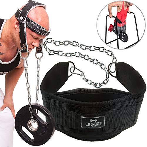 C.P.Sports Set Dip-Gürtel Dipgürtel + Nackentrainer Leder Dipping Belt, Klimmzug Gürtel, Neck Builder, Nackentrainer mit Stabiler Kette, Bodybuilding, Krafttraining -