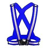 Frisch Verstellbar Running Reflex Gear Sicherheit Weste Taille Gürtel Streifen Jacke Hohe Sichtbarkeit für Outdoor Joggen, Radfahren, Laufen, Motorrad Reiten und Grün Einheitsgröße Blau