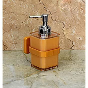 WIGANO Acrylic Wall Mounted Liquid Soap Dispenser with Chrome Polish Pump for Room , Luxury Hotel Bathroom , Standard Size, Golden