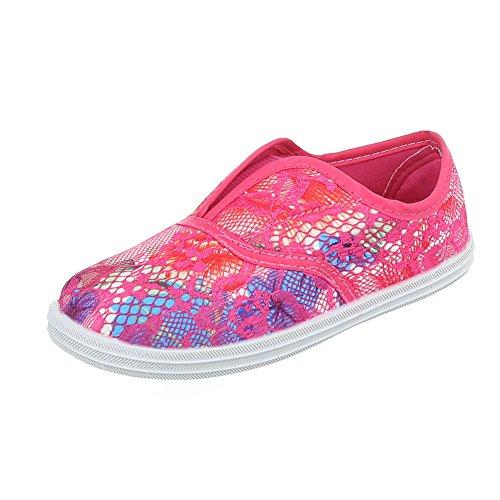 Freizeit Turnschuhe/Sneakers Kinderschuhe Low-Top Mädchen Ital-Design Freizeitschuhe Pink Multi