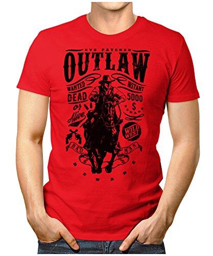 PRILANO Herren Fun T-Shirt - OUTLAW-WANTED - Small bis 5XL - NEU Rot