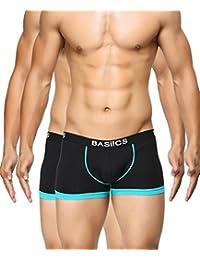BASIICS by La Intimo Men's Black, Black Bold Micro Sport Trunk (Pack of 2)