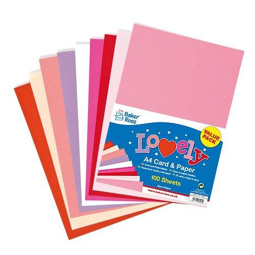 Valentinstagskarte/Muttertagskarte (220 g/m²) und Papier (80 g/m²) Vorteilspack für Kinder, Basteldekorationen