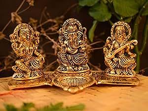 Collectible India Decorative Laxmi Ganesha Sitting Diya Statue - Diwali Puja Diya- Lakshmi Ganesh Saraswati Showpiece Oil Lamp Diwali Gifts Diya Decoration