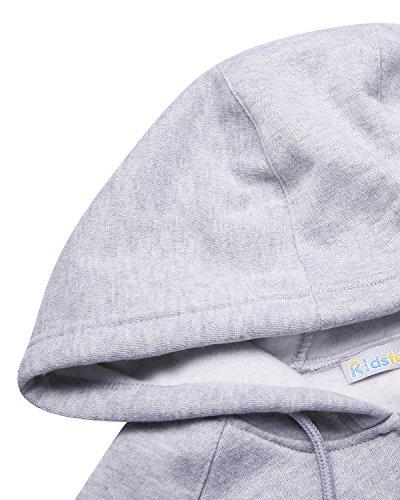 Kidsform Damen Hoodie Langarm Pullover Kapuzenpulli Outwear Kapuzenjacke Sweatshirt Jacken Grau-2