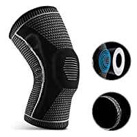 Lixada 1pcs Knee Support Men Women Knee Brace with Side Stabilizers Silicone Pad Sports Knee Sleeves for Weightlifting Powerlifting Running