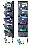 homyfort Porte-Revue Mural, Porte Document Mural, Rangement Tissu Porte, 5 poches de rangement en polypropylène respirant, étagère multifonctionnelle, montage à la porte (suspension), Lin Noir, XAZ05C