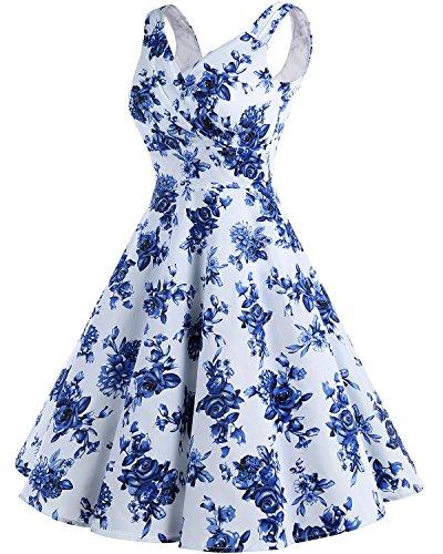 Bridesmay Damen Vintage 50S Retro Partykleid Rockabilly Knielang Cocktailkleid White Blue Flower