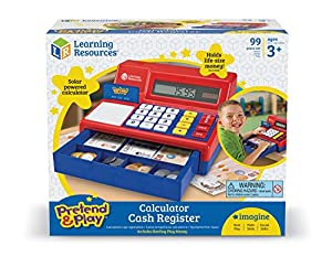 Learning Resources Pretend and Play Calculator Cash Register with UK Play Money by Learning Resources