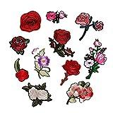 11Stück Stickerei Pfingstrose Rose Blumen Nähen Bügeln auf Patches Tasche