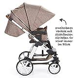 ABC Design Kombi-Kinderwagen Set Turbo 4 – inkl. 3in1 Tragewanne für Neugeborene, Liegefunktion, ausklappbarem Sonnenverdeck, Schieber höhenverstellbar, Sitz drehbar, große Räder – Bean - 4