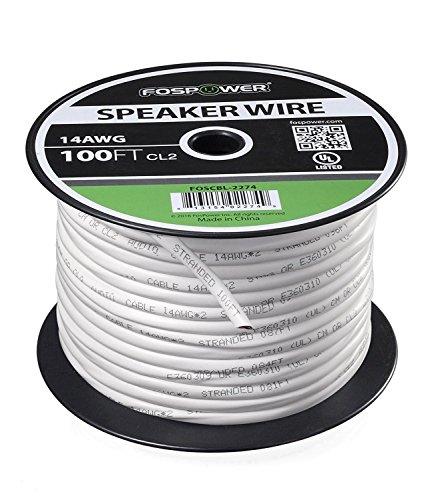 FosPower Cable de altavoz [30m][UL Listed] 14AWG Desnudo Cobre 2-Conductor CL2 En-pared Speaker Wire con Blanco Chaqueta y Nylon Ripper (100ft)