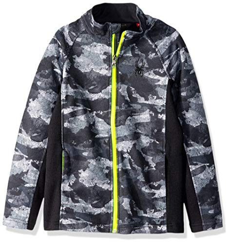 Spyder Jungen Boys' Constant Full Zip Stryke Jacket Fleece-Oberbekleidung-Jacken, Camo Distress Print/Black/Bryte Yellow, Large -