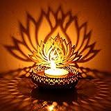 Hashcart Kerzenhalter mit traditionellem Design und Schatten-Effekt, Motiv: Lotussilhouette, Metall, für Votivkerzen und Teelichter, Tischdekoration für zu Hause, Wohnzimmer und Büro