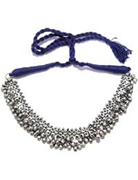Athizay Metal Necklace Oxidised Black Silver With An Inch Thick Blue Thread Cotton Dori. Exemplary Festive Wear...