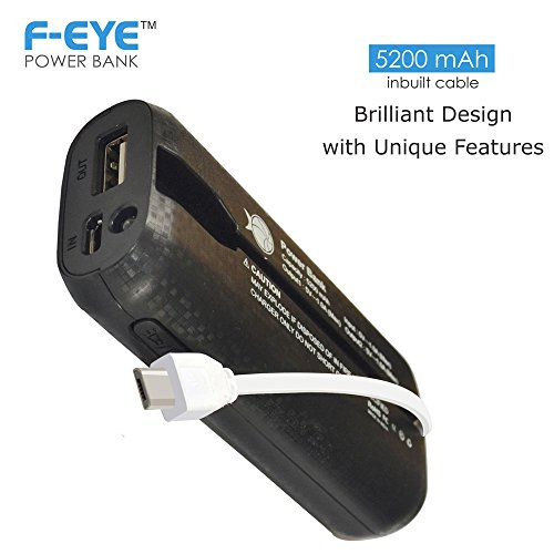 F-EYE Power Bank 5200mAh,Portable Power Charger with 4 LED Indicator and Built in Micro USB Cable for Apple iPhone5, iPhone6, iPhone6+, iPhone6s, iPhone6s+, Samsung, HTC, MI, Blackberry, Nokia, Moto, Asus, Lenovo, Xiaomi  available at amazon for Rs.1199