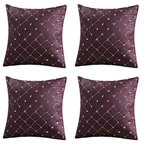 Loveliome Dekorativer Überwurf-Kissenbezug für Couch, Sofa, Auto, Classic Plaid Home Kissen Fall 43,2x 43,2cm 4Stück 17 by 17
