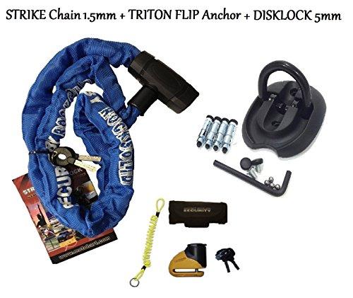 Moto RS de frappe 1,5 m avec chaîne antivol d'ancrage au sol pour moto Triton &Disque Serrure à 5 mm