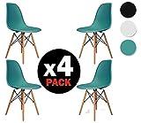 Due-home (Nordik)–Lot de 4chaises Tower, réplique de chaises Eames, Finition en bois de hêtre, dimensions: turquoise