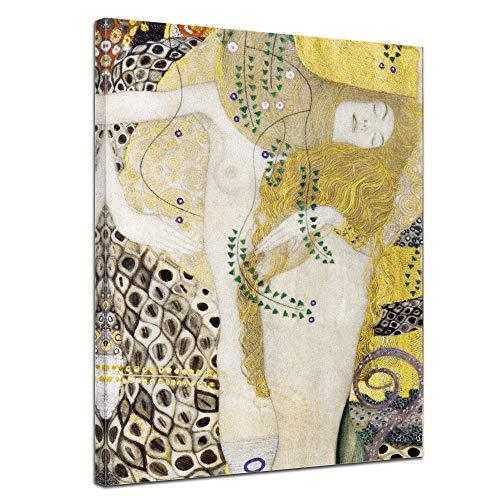 Wandbild Gustav Klimt Wasserschlangen I (1904-07) - 50x70cm hochkant - Wandbild Alte Meister Kunstdruck Bild auf Leinwand Berühmte Gemälde - Schlange Leinwand