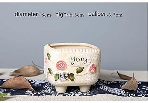 Kreative keramische Blumentöpfe Einfache geschnitzte Blume - gepflanzte Töpfe Kreative minimalistische keramische Vase Büro Home Desktop Dekoration Ornament für Wohnzimmer Schlafzimmer Studie ideale Geschenk , a set of 4