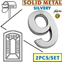 2 paquetes de números de metal sólidos, de la arca Magicdo, de 7 cm, número para el hogar, moderno, plateado, con apariencia flotante, fácil de instalar y ...