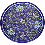 BLUE DECOR Blue Pottery Decorative-Handcrafted & Painted Floral Wall Plate ( P104 ; Blue )
