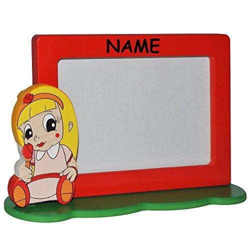 Unbekannt Bilderrahmen / Fotorahmen aus Holz incl. Name - Prinzessin / Mädchen mit Rose - mit 1 Bild - 10 x 15 cm - Deko für Kinder + Erwachsene - Kinderzimmer Kind Tis..