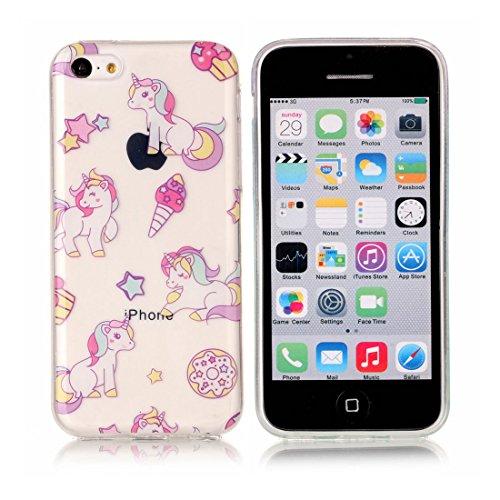 iPhone 5C Custodia, [Materiale flessibile TPU Gel trasparente del silicone Grip sottile e leggero ] Copertura iPhone 5C Case, Shock Proof [ Cartoon Fiore Totem bianca ] # # 11