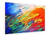 weewado Bunte Abstrakte Acrylmalerei. Natürliche dynamische Mischung von Farben Hintergrund fließen - 90x60 cm - Textil-Leinwandbild auf Keilrahmen - Abstrakt