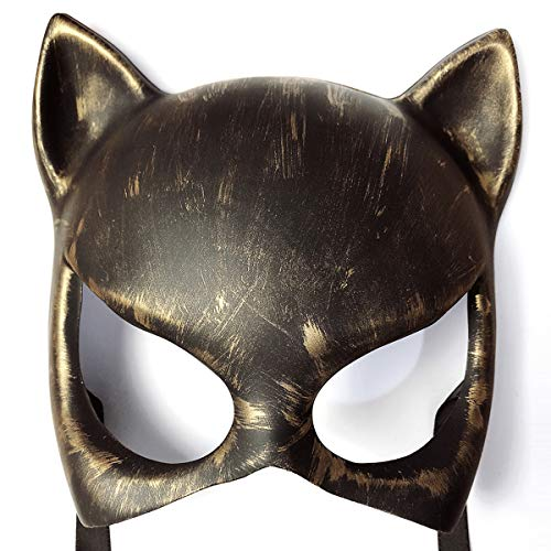 BLLJQ Catwoman Mascara, Belleza Máscara, Retro Rock Enmascara with Scratch Resistant,Oro