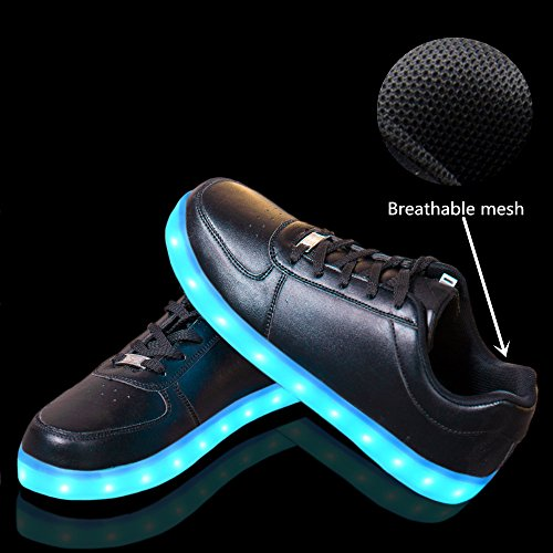 LeKuni Unisex LED Schuhe 2017 Verbesserung 7 Farbe Blinkende Leuchtende Light Up Low Top Sneakers(Größe 25-43) Schwarz
