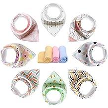 yoofoss Baby Bandana Drool baberos bufandas Unisex 8unidades Set de regalo para la dentición y sialorrea, 100% algodón orgánico, suave y absorbente