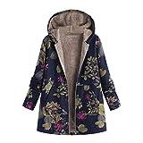 B-commerce Damen Floral Mäntel - Warme Vintage-Jacken aus Plüsch-Plüsch Plus Size Mit Kapuze Oberbekleidung
