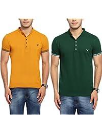 Youthen Solid Men's Cotton Mandarin Neck T-Shirt