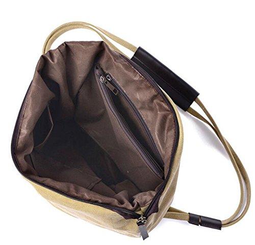 Arrowhunt Damen Mädchen Einfarbig Retro Mode Canvas Schultertasche Schule Umhängetasche Messenger Tasche Weiß ( groß Größe )