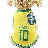 Nicedeal Équipe de football brésilien 10 Jersey pour animal domestique Vêtements Pet Vêtements pour animal...