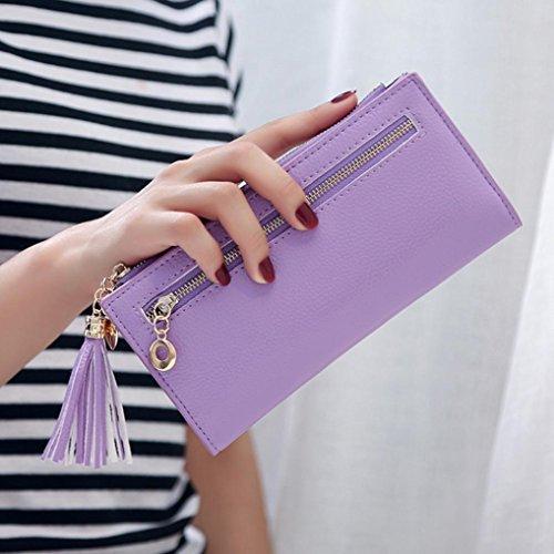 Portafoglio Donna, Tpulling Sacchetto della borsa del supporto della carta del raccoglitore della borsa della nappa della frizione delle donne (Green) purple
